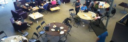 Participants in a recent Hackathon at MIT. (Courtesy Matt Carroll, Hacks/Hackers)