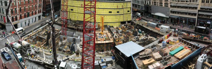 Construction site of the Millennium Tower at Downtown Crossing is ongoing. (Photo by Jordan Gauthier)