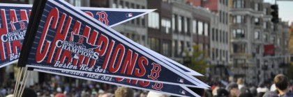 Fans thronged Boylston Street during a duck boat parade to celebrate the Boston Red Sox victory in the World Series in 2013. (BU News Service/Dana Hatic)